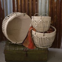 Natural Willow Cotton Lined Baskets, Set of 3