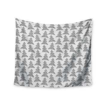 "Michelle Drew ""Herringbone Forest Black"" Gray White Wall Tapestry"