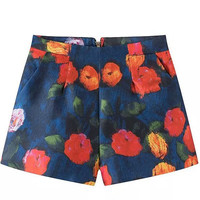 Blue High Waist Floral Print Mini Shorts