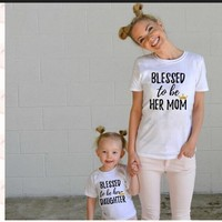 Mother Daughter White Matching Cloth T-shirts