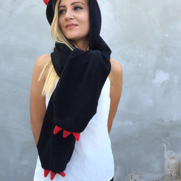 Devil Hooded Scarf, Halloween Costume, Spooky Hooded Scarf, Devil Horn Hooded Cowl, Black Red Polar Fleece Hooded Wrap Scarf, Designscope