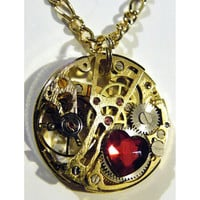 Pocket Watch Movement Heart Necklace by tempusfugit on Etsy