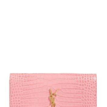 Saint Laurent Large Monogram Croc Embossed Leather Wallet on a Chain | Nordstrom