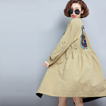 New arrivel Spring and Autumn cardigan jacket long loose embroidered female coat