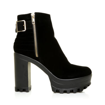 ALICE Black Faux Suede Cleated Sole Platform Ankle Boots
