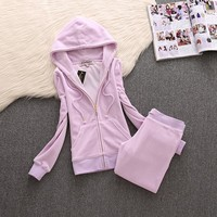 Juicy Couture Simple Pure Color Velour Tracksuit 611 2pcs Women Suits Light Purple - Ready Stock