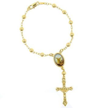 Gold Layered 03.65.1148.2.08 Bracelet Rosary, Angel and Crucifix Design, Polished Finish, Golden Tone