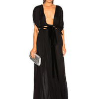 Valentino Plunging Gown in Black | FWRD