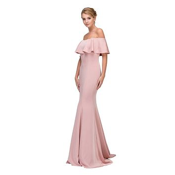 Blush Off Shoulder Ruffled Bodice Mermaid Floor Length Prom Gown