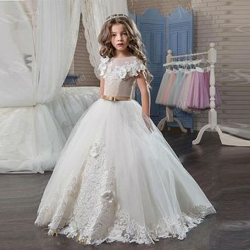 DF537 Pricess Style Ball Gown Flower Girl Dresses Elegant With Flowers Tulle Long First Communion Dresses For Girls Cheap