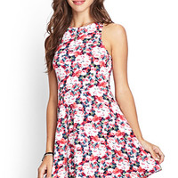 FOREVER 21 Rose Print Skater Dress Pink/Mauve