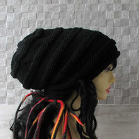 Super Chunky - Large Baggy Hand Knitted , Huge Boho Hat, Women/Teen Extra Large Slouchy Hat, Rasta Cap in Black - SOLD - taking orders