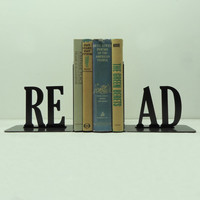 ON SALE  Read Text Metal Art Bookends  Free by KnobCreekMetalArts
