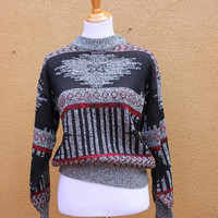 Vtg Southwestern Geometric Tribal Print Sweater by Fashion Police Small Medium