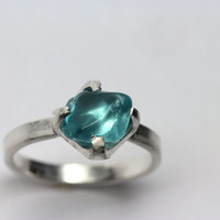 Tumbled Rough Blue Apatite Silver Ring Winter Cold Frost - Tiny Ice