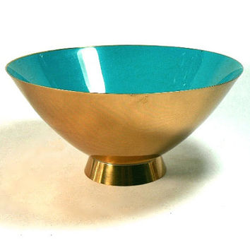 Donald Colflesh Enamel And Brass Bowl Gorham Giftware Turquoise Blue Mid Century Modern 1950s Decor