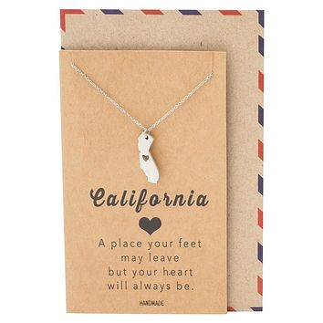 Sylvie California State Necklace, Handmade Birthday Gifts for Women