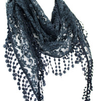 black scarf,lace scarf,scarf,gift