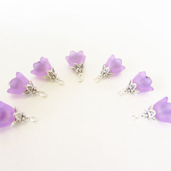 Purple Flower Cap Charms - 7 Pcs. Dark Purple Lucite Flower Charms - Crystal Beads - Handmade DIY Jewelry Parts - Crystal Jewelry Supplies