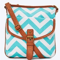 Teal Chevron Crossbody