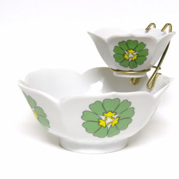 Bowl, Chip and Dip Bowl Set, Vintage White Green and Yellow Bowls, Serving Bowls, Made in Japan