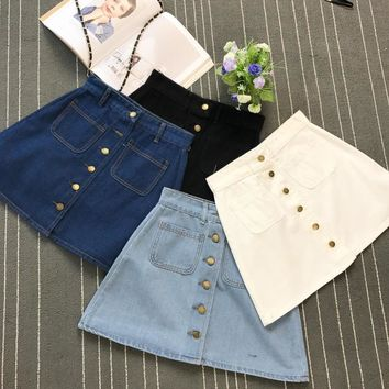 On sale 2017 summer Womens ladies A-line Jeans Skirt Button High Waist Denim small pockets Skirt harajuku mini high quality