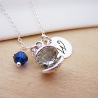 Oyster Charm Swarovski Birthstone Initial Personalized Sterling Silver Necklace / Gift for Her