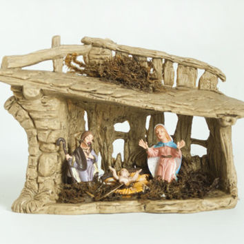 Vintage Italian Nativity Set, Plastic Stable Manger Scene, Vintage Christmas Decoration Made in Italy