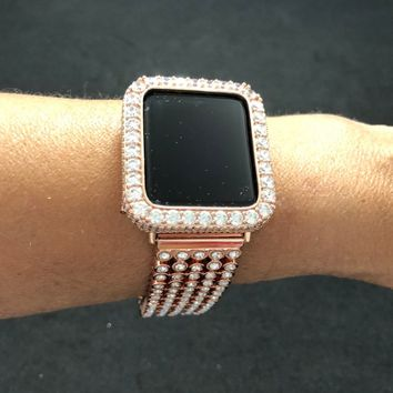 Bezel Apple Watch 38mm 42mm Apple Case Cover Women Mens Rose Gold 38mm 42mm 2mm Lab Diamonds Rhinestone Crystal Rhinestones Iwatch Bling