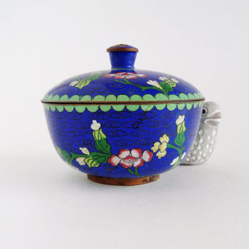 Antique Chinese Cloisonne Enamel Trinket Jewelry Box Bowl