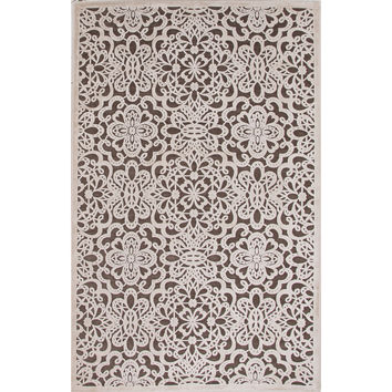 Jaipur Rugs Transitional Floral Pattern Brown/Ivory Rayon and Chenille Area Rug FB87 (Rectangle)