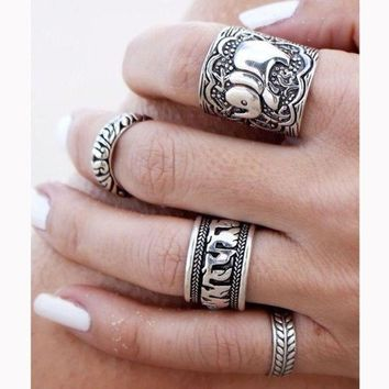 4pcs vintage punk ring set carved antique silver elephant totem leaf lucky rings jewelry gift box  number 1