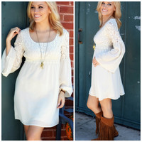 Cream Of The Crop Bell Sleeve Dress