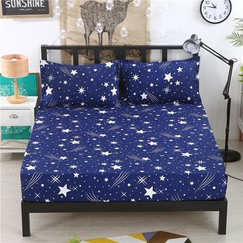 1pcs Polyester Adults Bed Sheets Blue Starry Sky Print Bedding Fitted Sheet Mattress Cover Bedsheet With Elastic Band Bedspreads