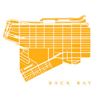 Back Bay Neighborhood Map Print - Boston, Massachusetts
