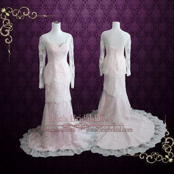 Pearl Pink Tiered Lace Wedding Dress with Long Sleeves   Blush Wedding Dress   Monaco