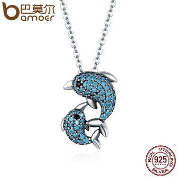 Authentic 925 Sterling Silver Story Of Dolphin Clear CZ Pendant Necklaces for Women Luxury Sterling Silver Jewelry SCN149