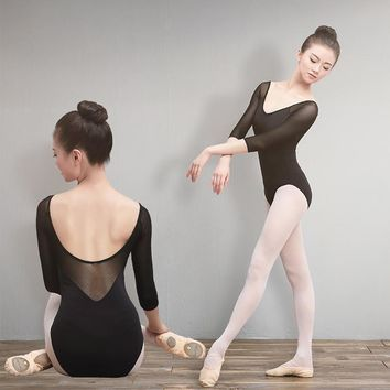 Sales Girls Adult Ballet Leotards Cotton Spandex Dance Wear Black 3/4 Mesh Sleeve Gymnastics Leotard For Women