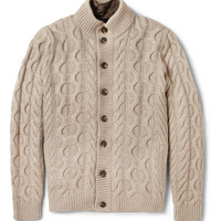 Faconnable Cable Knit Cardigan with Detachable Quilted Lining | MR PORTER