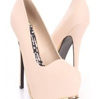 Nude Snake Textured High Heels Faux Leather