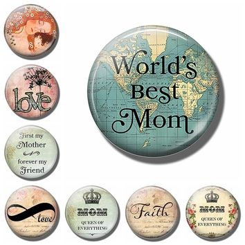 Round Love Mom Quote Fridge Magnet 2017 New 30MM Glass Dome Refrigerator Sticker Home Decoration Message Holder Mothers Day Gift