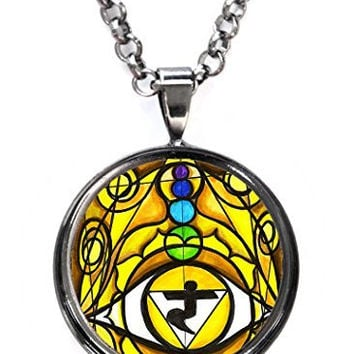 Third Chakra Opening Eye Intuition Gunmetal Pendant with Chain Necklace