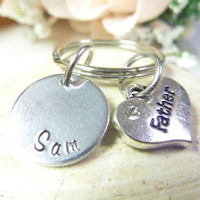 Father Gift Handstamped keychain Personalized Dad Keyring Hand stamped custom keyring