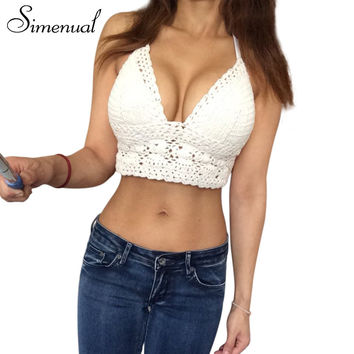 Summer tops 2016 hot camis lace crochet crop top bralette fitness hollow out beach wear top ganchillo short pattern sexy top