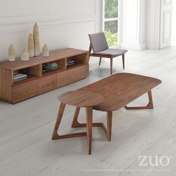 ZUO Modern Park West Side Table Walnut 100098 Living Coffee Consoles