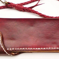Burgendy Red Long Leather Wallet