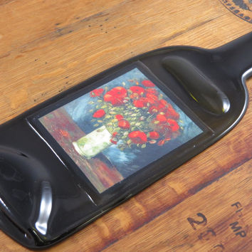 Van Gogh Red Poppies Glass Cheese Board