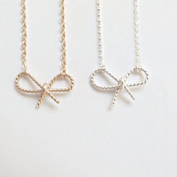 Gold Braided Bow Necklace Bridesmaid Jewelry Bow Necklace Tie the Knot Gift Gold Necklace Twisted wire Bridesmaid gift