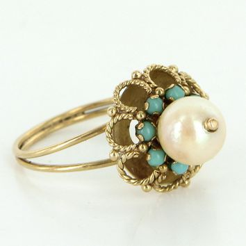 Vintage 14 Karat Gold Pearl Turquoise Cocktail Ring Estate Jewelry Heirloom Sz 6.5