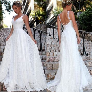 Women's Formal Wedding Long Party Ball Dresses Lace Chiffon Long Maxi Dress Solid White Backless Sundress